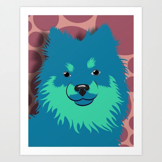 Olie the Pomeranian in Blue Art Print