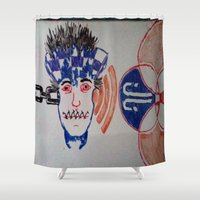 sonic Shower Curtains featuring Sonic Junkie by Just Joking Art