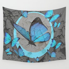 SHABBY CHIC  NEON BLUE BUTTERFLIES  & CHARCOAL GREY  N MOD Wall Tapestry
