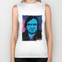 johnny cash Biker Tanks featuring Johnny Cash by Todd Bane