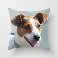 jack russell Throw Pillows featuring Jack Russell by Doug McRae