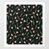 tulips Art Prints featuring Tulips by Heart of Hearts Designs