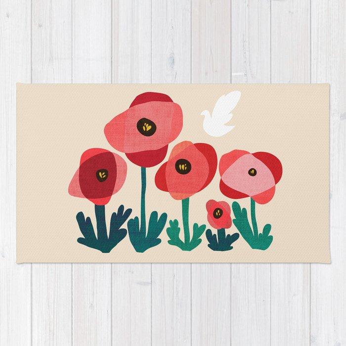 Poppy flowers and bird rug by budikwan society6 poppy flowers and bird rug mightylinksfo