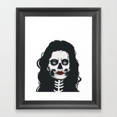 skeleton woman red lips Framed Art Print