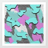 Memphis Pattern - Azure Blue Art Print