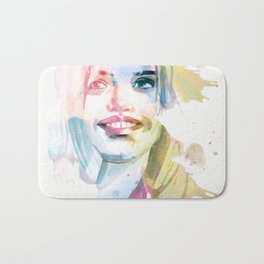 Always smile! Hand-painted portrait of a woman in watercolor. Bath Mat