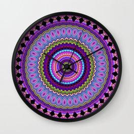 purple feathers Mandala Wall Clock