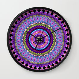 purple feathers Mandala Wall Clock