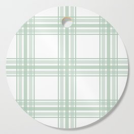 Farmhouse Plaid in Sage Green and White Cutting Board