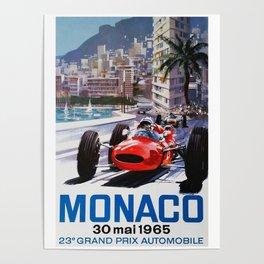 Grand Prix Monaco, 1965, vintage poster, race poster Poster