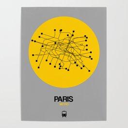 Paris Yellow Subway Map Poster