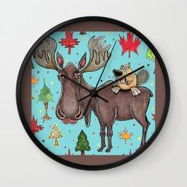 Canada Canadian wildlife, moose and beaver Wall Clock