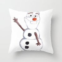 olaf Throw Pillows featuring olaf from frozen by Art_By_Sarah