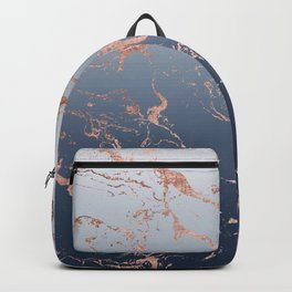 Modern grey navy blue ombre rose gold marble pattern Backpack