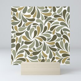 Tropical Green Botanical Tree Leaves Abstract Pattern Mini Art Print