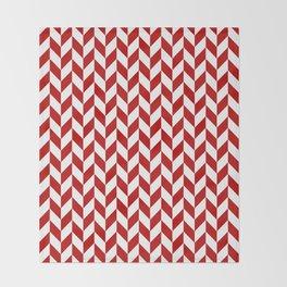 Red and White Herringbone Pattern Throw Blanket