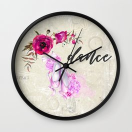 Dance with Ballet Shoes with a Floral Poppy Frame Wall Clock