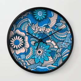Blue Summer Boho Floral Pattern Wall Clock