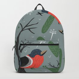 Cute Bullfinch in Woodland/Forest. Merry Christmas/Winter Collection Backpack