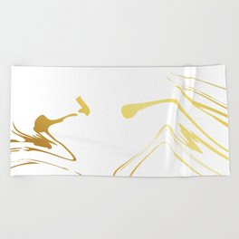Gold and white abstract swirls Beach Towel