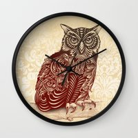 ornate Wall Clocks featuring Most Ornate Owl by Rachel Caldwell