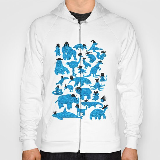 Blue Animals Black Hats Hoody