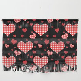 Red Gingham Hearts Wall Hanging