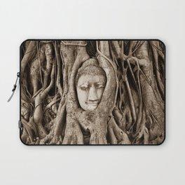 Buddha head in a Banyan Tree in Ayutthaya, Thailand Laptop Sleeve