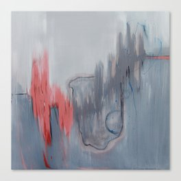 No. 15 Grey and Coral Ombre Pastel Abstract Painting  Canvas Print