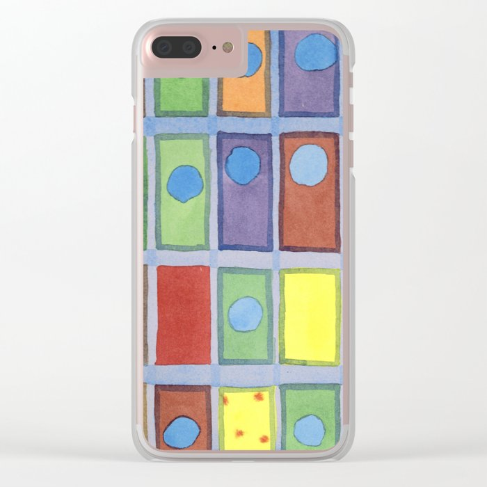 Blue Circles Passing Through Clear iPhone Case