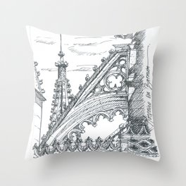 gothic flying butress Throw Pillow