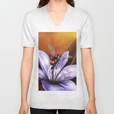 Fly on flower 10 Unisex V-Neck