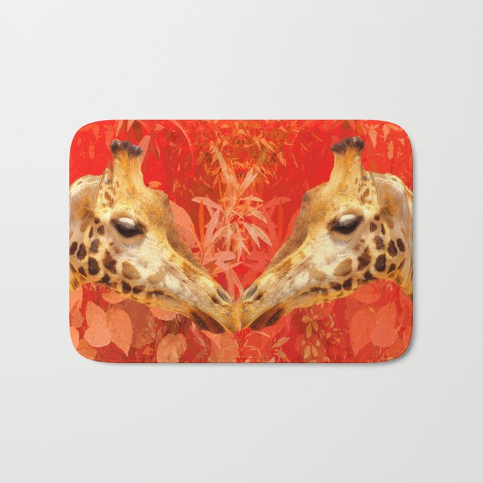 Face to face - beautiful giraffes - love is in the air Bath Mat