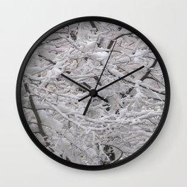 Snow laden trees Wall Clock