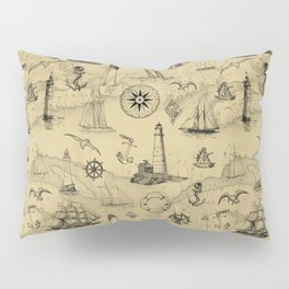 Old Map Background with Vintage Nautical Pattern Pillow Sham