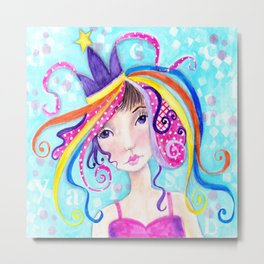 Whimiscal Party Girl Metal Print