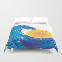 hokusai Duvet Covers featuring Hokusai Rainbow & Hibiscus_Y  by FACTORIE