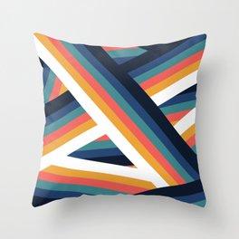 Zig Zag Retro Color Stripe Lines Throw Pillow