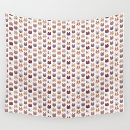 Cute Kitty Cat Faces Pattern Wall Tapestry