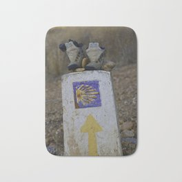 Camino Route Marker and Old Boots Bath Mat