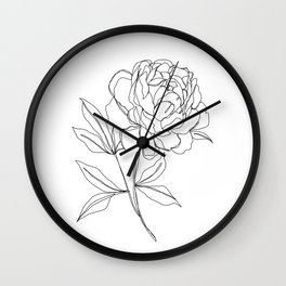 Botanical illustration line drawing - Peony Wall Clock