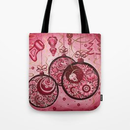 Winter holidays decorations in petrykivka style Tote Bag