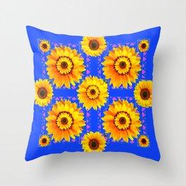 SKY BLUE MODERN SUNFLOWERS ART Throw Pillow