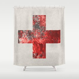 Medic - Abstract Medical Cross In Red And Black Shower Curtain