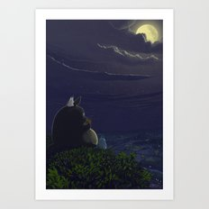 Totoro playing the ocarina Art Print