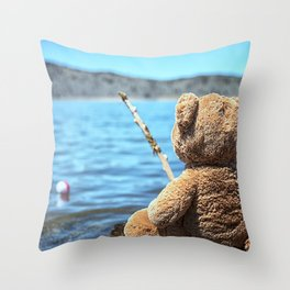 Come on Walter said the fishing teddy bear Throw Pillow