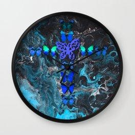 Turquoise Fire Cross Wall Clock