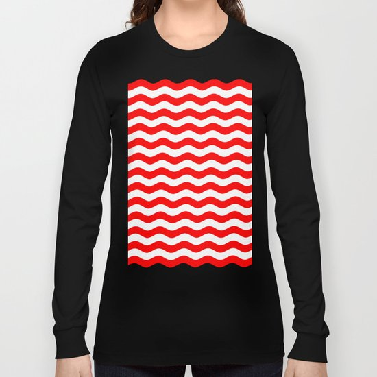 Wavy Stripes (Red/White) Long Sleeve T-shirt