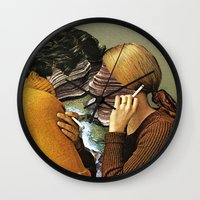 eugenia loli Wall Clocks featuring A Creek Between Us by Eugenia Loli