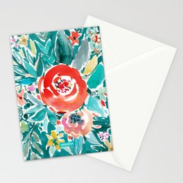 IN FLOW FLORAL Orange Watercolor Rose Stationery Cards